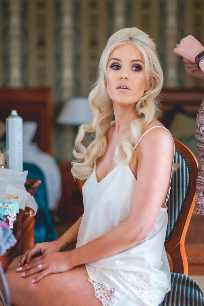 knightsbrook hotel wedding, glam makeup, summer bride